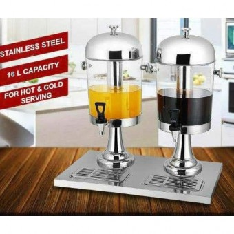 [READY STOK] 16L (8L x 2) Stainless Steel Double Bowl Juice Dispenser Water dispenser buffet