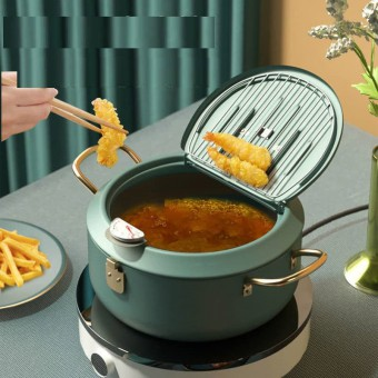 Japanese Tempura Deep Fryer Cooker 304 with Thermometer Pan Temperature Control Fried Chicken Pot Dr