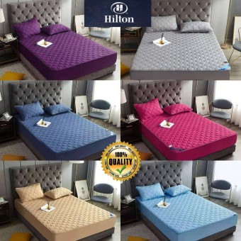 [READY STOK] CADAR HILTON VIRAL ANTI KEDUT Fitted Bedsheet FREE 2PCS PILLOW CASE Mattress Cover Cott