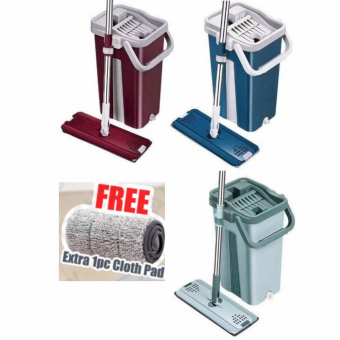 [YEAR END OFFER] New Mop Self-Wash And Squeeze Dry Flat Mop With Bucket 2 Mop Pads 2 In 1 Mop La